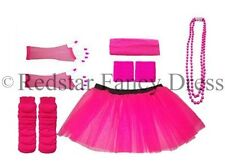 PINK NEON TUTU SKIRT FANCY DRESS HEN PARTY PARTY UV FISHNET LADIES 8-16 & 16-22