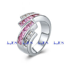 18K White Gold Filled Nickle/Lead FREE 2 tone Cubic Zirconia CZ wide Ring Z1H