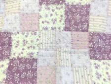 Cozy Country Purple White Lilac Blue Lavender Green Leaf Patchwork Quilt Set