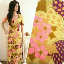 Vintage 60s Dollyrockers Sambo Psychedelic Floral Daisy Maxi Dress Mod 8 36
