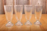4 Glass Ice Cream Cups Glasses Tall Fluted Sides