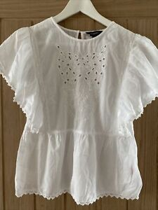 Primark Frilled Flutter Sleeve Ivory Broderie Embroidered Boho Top Blouse Size 8