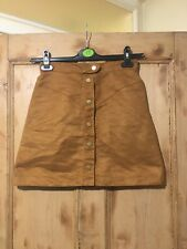 H&M Brown Faux Suede Short Skirt Button Up Size 10