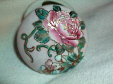 beautiful little VINTAGE floral trinket box perfect 3 inches round h f p macau