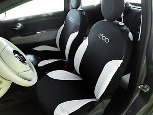 Fodere Foderine Coprisedili auto nere bianche su misura FIAT 500 07> ANT + POST