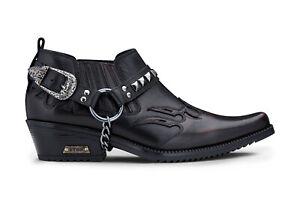 Mens Leather Cowboy Shoes Black Croc Cuban Biker Stud Punk Winklepickers Western