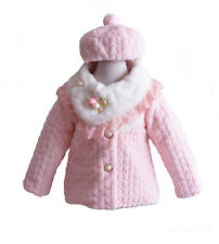 Girls Pink Faux Fur Long Sleeves Coat With Hat 3-4 Years