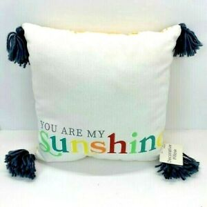 """Decorative Throw Pillow Yellow Plaid Gray Poms """"You Are My Sunshine"""" Brand New"""