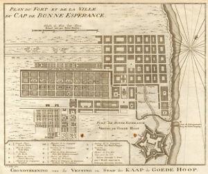 Fort &… ville du Cap de Bonne Espérance. Cape Town. BELLIN/SCHLEY 1748 old map