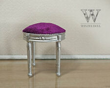 1/4 baroque stool for doll 16 inch, silver&purple, BJD doll furniture