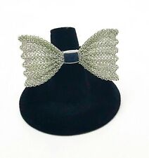 Silver Color Mesh Bow With Stetchy Band Ring Hair Tie Scarf Accessory