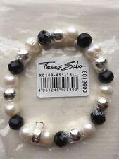 Thomas Sabo CX0188M Charm Bracelet Rose Quartz Hematite Bracelet Size M 16.5cm