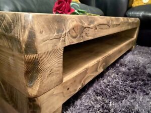 rustic wooden tv unit cabinet with shelf sky box dvd media flat screen plasma