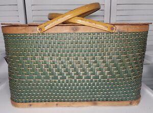 Vintage Hawkeye Burlington Basket Co. Woven Green Picnic Basket Farmhouse Decor