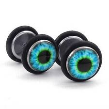Fashion Charm Mens 316L Stainless Steel Blue Black Evil Eye Stud Earrings New