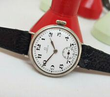 USED 1923 OMEGA SOLID SILVER WHITE DIAL MANUAL WIND MAN'S WATCH