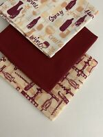 "Bundle Of 3 ""WINE LOVERS"" New 100% Cotton Fabric Fat Quarters"