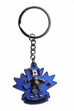 "CANADA Flag,BEAR Hockey Player ,Blue Backgr. Metal KEYCHAIN..1.75"" x 2"" Inch"