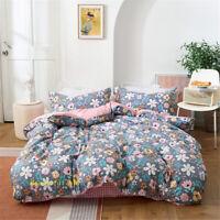 Grey Flower Double/Queen/King/Single Bed Quilt/Doona/Duvet Cover Set 100% Cotton