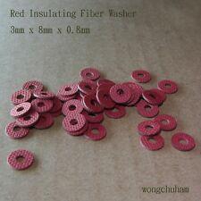 50pcs Red Insulating Fiber Washers (3mm x 8mm x 0.8mm)