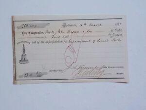 Antique Check 1881 Mayor Of Baltimore Maryland Signature Paper Money History VTG