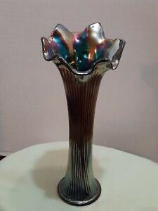 "Fenton Amethyst Super Iridescent Carnival Glass Fine Rib Vase 9"""