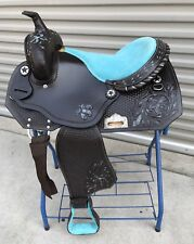 "16"" Dark Oiled Barrel/Pleasure Trail Western Saddle With Turquoise Paint Inlay"