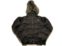 The North Face Womens Small 550 Goose Down Gotham Bomber Jacket Faux Fur