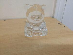 Partylite Glass Teddy Bear Tealight Holder