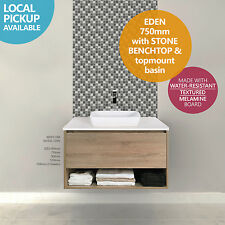 EDEN 750mm White Oak Timber Wood Grain Wall Hung Vanity w Towel Shelf -STONE TOP