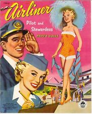 Vintage 1953 Airliner Pilot Paper Doll Laser Reproduction~Uncut~Lo Pr~Top Sell