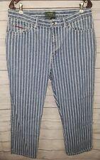 Lauren Ralph Lauren EUC Medium Blue Denim Mom Jeans White Pin Stripe Size 14