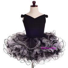 2pcs Girls Off-Shoulder Cupcake National Pageant Dress Shell Black Sz 5-6 PT001