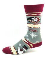 Florida State Seminoles NCAA Gray Thin Crew Holiday Snowman Socks