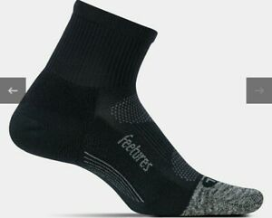 3 Pairs Feetures Elite Light Cushion Quarter Socks Black Size L Runing Socks