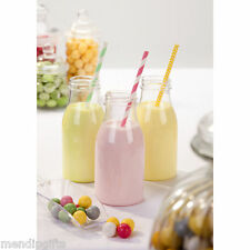 12 PLASTIC MINI MILK BOTTLES WITH LIDS VINTAGE STYLE PARTY WEDDING RECEPTION