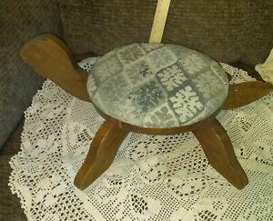 Vintage Upholstered Ottoman Footstool Turtle