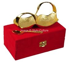 Styloculture Indian Gold Plated Twin Swan Shaped Bowl With Spoon Set of 2 Ps
