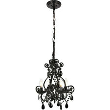 BLACK CRYSTAL CHANDELIER SHABBY AND CHIC LIGHTING CEILING FIXTURE 4 LIGHT 16""