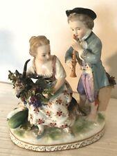 Capodimonte Figurine Porcelain Boy Playing Flute Girl On Ram
