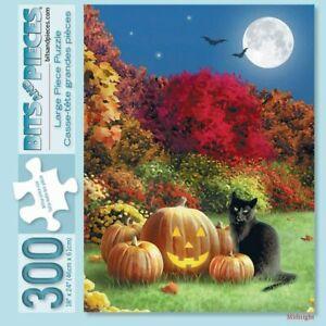Bits and Pieces - Midnight Halloween Black Cat Pumpkin Jack-O-Lantern Full Moon