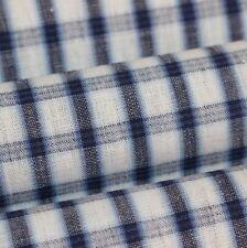 """Vintage Japanese Indigo Cotton Dyed Plaid Folk Yukata Fabric 60"""" FREE SHIPPING"""