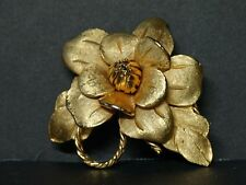 Rare Signed Corocraft Rose Flower Pin Brooch *Hang reading glasses from Loop*