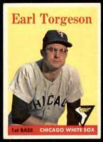1959 EARL TORGESON Chicago WHITESOX Original 1959 Topps card number 351 vintage grey back baseball card in very good condition