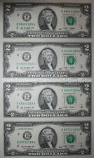 Uncut sheet of $2 two dollar bills CU genuine US un-cut money x4 Uncut Currency!