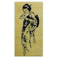 Coy GEISHA mounted rubber stamp, Japanese lady, oriental woman, people asian #12