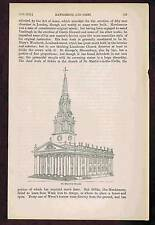 St Martin-in-the-Fields Church London- 1857 Antique Engraved Page of History