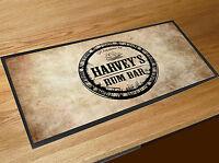 Personalised Welcome Rum Bar keg label bar runner mat