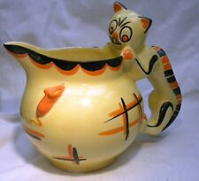 ART DECO MYOTT CAT & MOUSE GLOBE JUG CAT HANDLE VERY  RARE