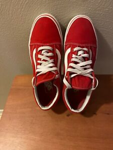 "Vans ""Old Skool"" Sneakers Racing Red True White Unisex Shoes Men's 7.5/W 9"